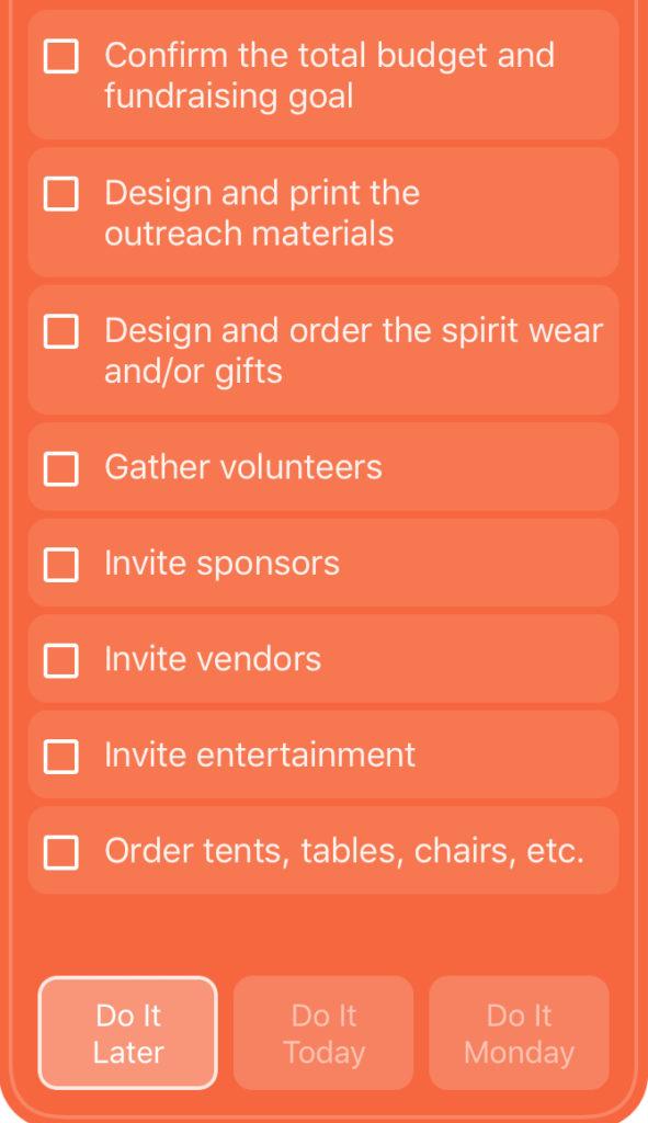 Fall Festival Checklist